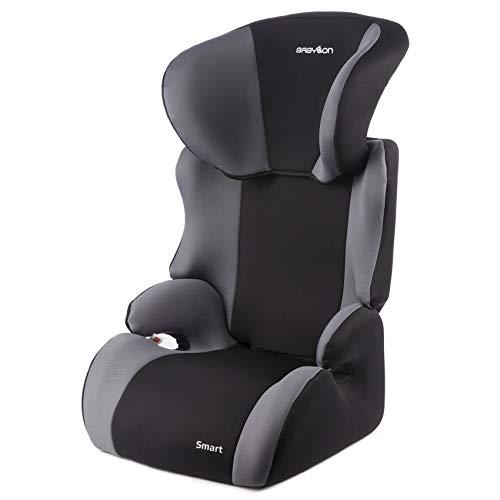 BABYLON Babysitz Auto Smart Autokindersitz Gruppe 2/3, Kindersitz 15-36 kg (3 bis 12 Jahren). Kindersitz Autositz Einstellbare Kopfstütze ECE R44/04 Schwarz/Grau