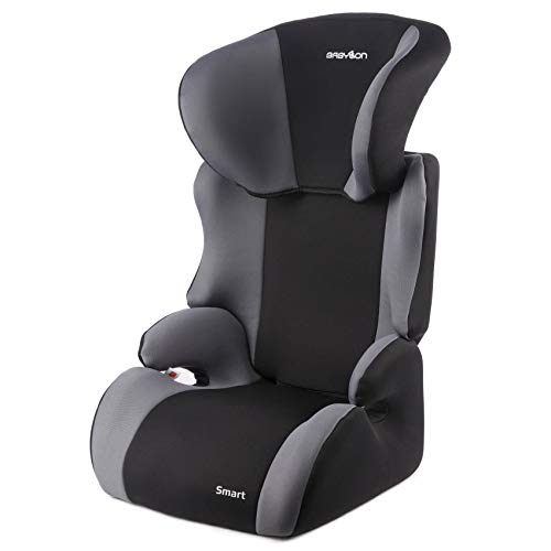 BABYLON silla coche Smart asiento de coche grupo 2/3,bebe coche para Niños 15-36 kg (3 a 12 años). silla coche bebe fabricada en Europa ECE R44 / 04 Negro/Gris
