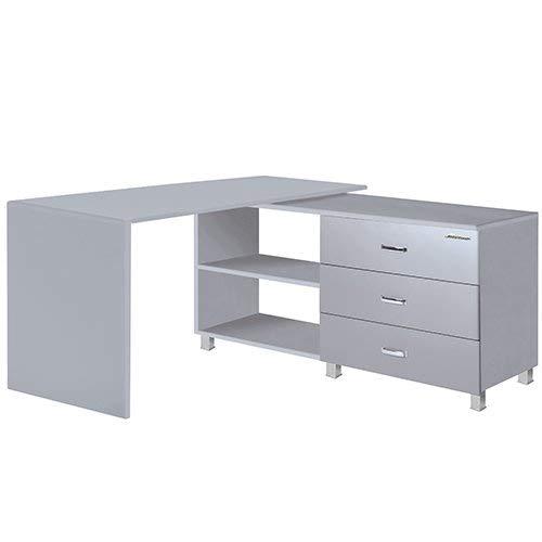 Miami 805708HG, Hellgrau Eckschreibtisch mit 3 Schubladen mit Vollauszügen und 2 Fächern, Autometallic Lackierung, Holz, 120 x 14.5 x 7.6 cm