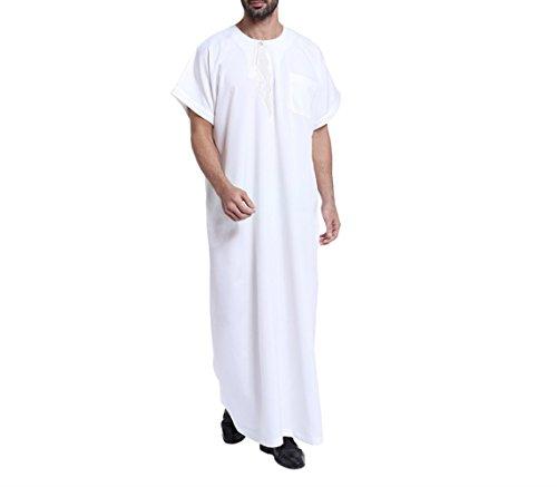 Nuevos Batas de Hombre Musulmanas Casual Traje de Arabia Saudita Masculino Caftan Abaya,Blanco,M