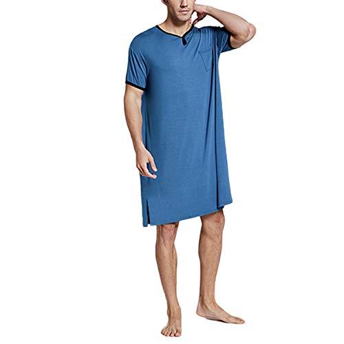 Nachthemd Herren Kurzarm Schlafanzug Nachtwäsche Herrennachthemd Knielang Pyjama Schlafkleid Sommer Männer (Blau, XXXL)