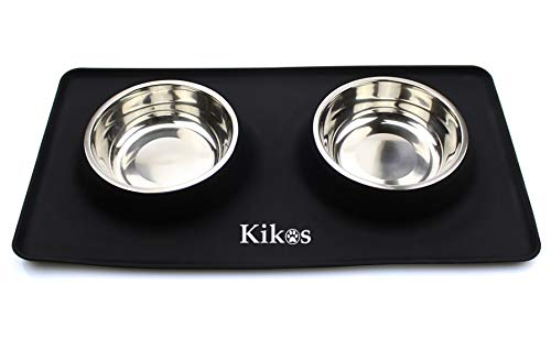 Kikos Double Dish Stainless Steel Small Dogs, Cats 16Oz Bowls with Waterproof Non-Skid Mat (Small)