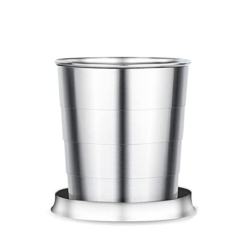 PZJ-Taza Plegable De Acero Inoxidable, Vaso Plegable con Llavero, Taza De Agua Telescópica De Metal, Taza de Metal para Acampar, Adecuada para Actividades Al Aire Libre y Uso Diario,L