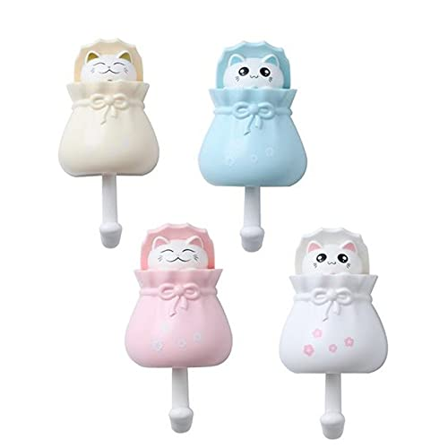 MRSM Cute Cat Key Hook,Cat Hook Pop Up,Strong Self Adhesive Hooks,Punch Free Cat Hooks Rack,for Hanging Coats, Keys, Hats, Luggage and Towels, Decorations