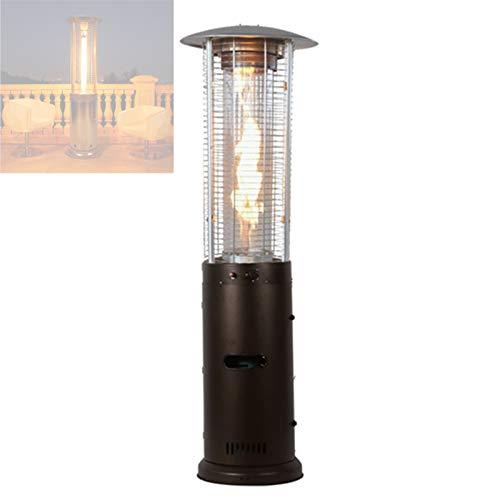 Enwebalay Estufa de calefacción de patio al aire libre, calentador de llama, calentador de fuego real, calentador de gas de pie, estufa asada para patio, comercial, restaurante, cenador, marrón
