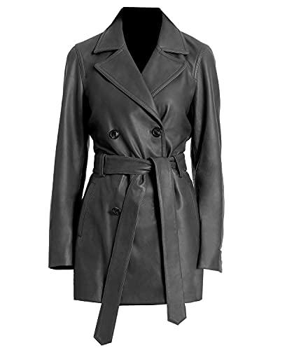 TIPTOP Abrigo de cuero con doble botonadura para las mujeres de cuero genuino gabardina largo cinturón negro y marrón