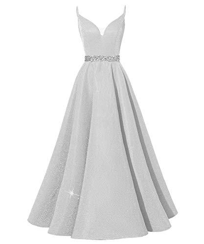HUINI Abendkleider Lang Vintage Ballkleider Abiball Promkleider Glitzer Damen Hochzeitskleider Prinzessin Rückenfrei Partykleider Silber 44