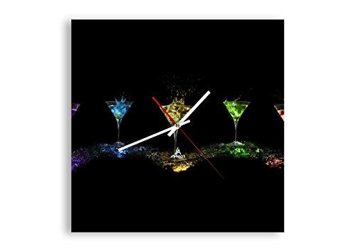 Horloge Murale - Carrée - Horloge en Verre - Pendule murales - 40x40cm - 0442 - Mécanisme d'écoulement - Silencieux - prete a Suspendre - Moderne - Décoration - Pret a accrocher - C1AC40x40-0442