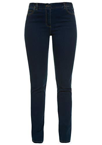 GINA LAURA Damen bis 50, 5-Pocket-Jeans Julia, Shaping-Effekt, Straight Leg, elastischer Bund, Stretch-Denim, darkblue 46 100220 93-46