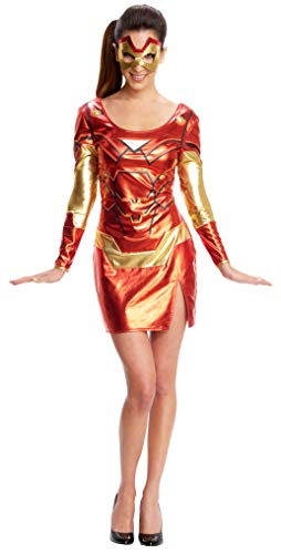 Secret Wishes Women's Marvel Universe Iron Man Secret Wishes Rescue Costume Dress and Eye Mask, Multicolor, Medium