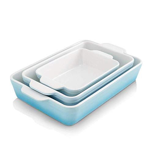 KOOV Bakeware Set, Ceramic Baking Dish Set, Rectangular Casserole Dish Set, lasagna Pan, Baking Pans Set for Cooking, Cake Dinner, Kitchen, 9 x 13 Inches, 3-Piece (Set of 3, Gradient Arctic)
