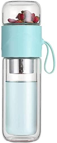 MONTA Taza de té portátil de 390 ml de doble pared de vidrio borosilica infusor de té botella de agua con tapa filtro té de gama alta elegante oficina