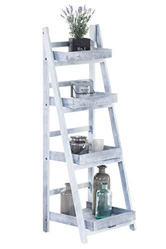 Estantería Escalera Dorin con 4 Estantes I Estantería Plegable en Estilo Rústico I Estantería Decorativa de Madera I Color:, Color:Gris