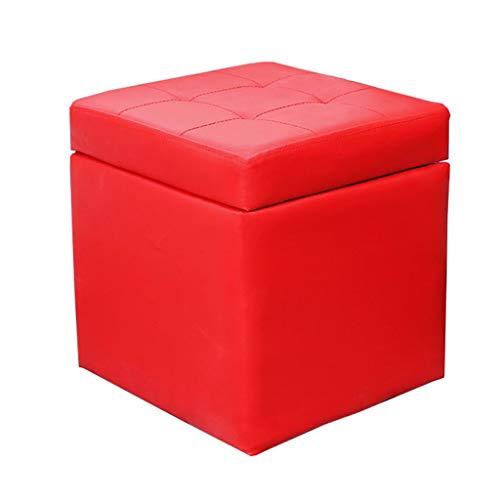 Tabouret de rangement Tabouret de rangement en bois pouf rembourré repose-pieds tabouret tabouret à langer PU tabouret en simili cuir pour salon chambre à coucher monocoque cube boîte, max.150 kg Lit