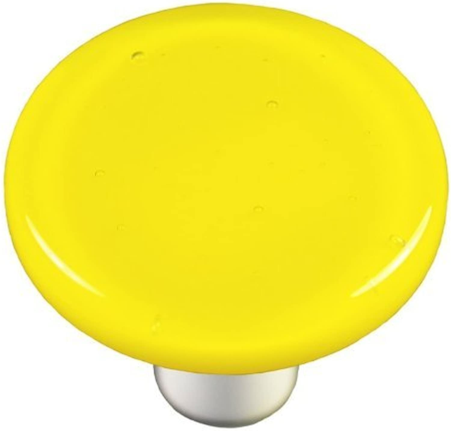 Hot Knobs HK1010-KRA Canary Yellow Round Glass Cabinet Knob - Aluminum Post