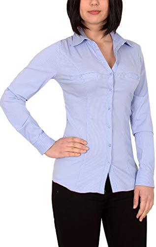 ESRA Damen Stretch - Business - Bluse Damen Popeline Lange Bluse Hemd Langarm mit Nadelstreifen in aktuellen Farben B302
