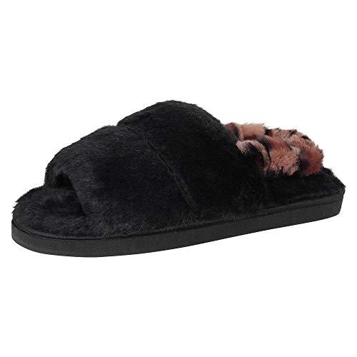 Jessica Simpson Damen Plush Faux Fur Fuzzy Slide On Open Toe Slipper with Elastic Backstrap Hausschuh, Schwarzer Slingback, Large EU