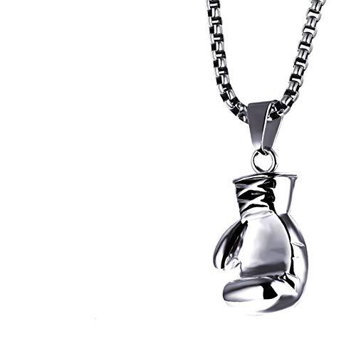 AnazoZ Colgante de Hombre Acero Inoxidable Colgante Collar Hombre Guantes de Boxeo Collares de Hombre Plata-Pequeño