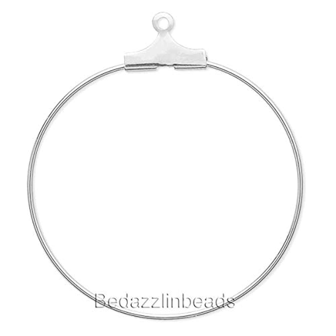10 Silver Beading Hoop Earring Finding Components With Loop Plated Brass Metal (20mm)