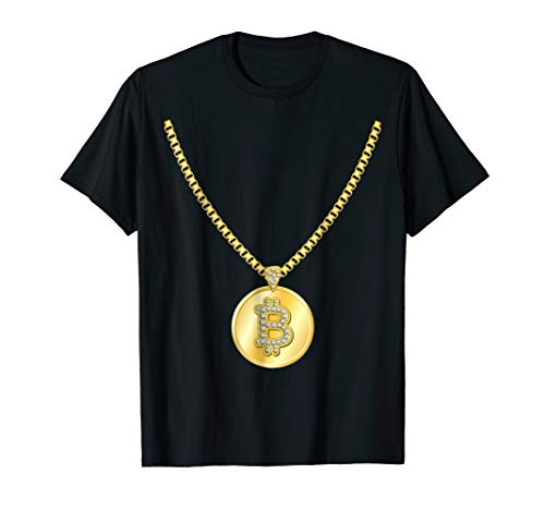 Funny Bitcoin Gold Chain Cryptocurrency Necklace T-Shirt