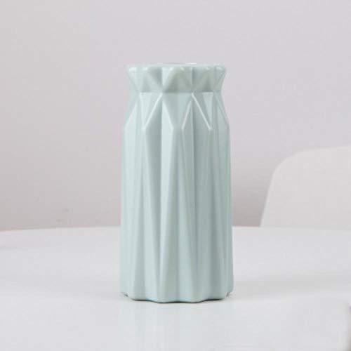 Ltong Origami Vazen Imitatie Keramische Bloempot Mand Tafelblad Planten Woondecoratie Bonsai Decor Bloemstuk container, blauw-9x9x17.7cm