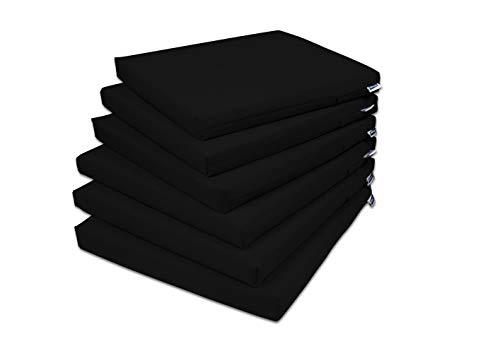 Rollmayer 6er Set Stuhlkissen Stuhlauflage Sitzkissen Sitzpolster Auflage für Stühle in Haus und Garten Kollektion Vivid (Schwarz 34, 40x40x4cm)