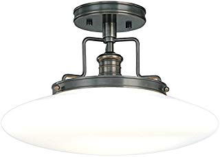 """Hudson Valley Lighting 4205-OB Beacon 1-Light Semi Flush-Old Bronze Finish with Opal Mouth-Blown Glossy Glass Shade, 15"""","""