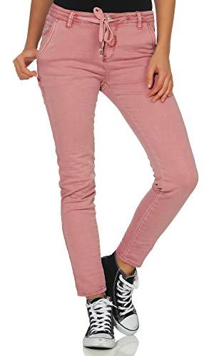 Fresh Made Damen Stretch Hose in Jeans-Optik LFM-130/LUS-134 Boyfriend Look Dark Rose M