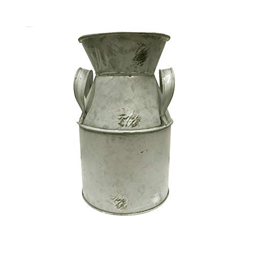 FloristryWarehouse Deko-Milchkanne aus Zink, rustikal, Shabby Chic, 20cm hoch, Grau
