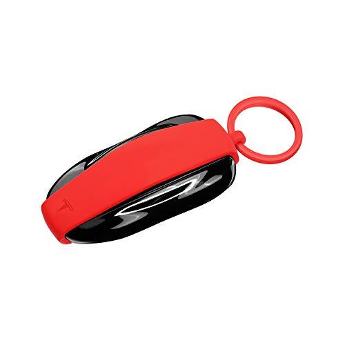 OLAIKE Key Fob Cover für Tesla Model X, Hochwertige Silikon Auto Keychain Key Cover Protector Case Halter mit Schlüsselanhänger Kette für Tesla Model X Zubehör (Rot, Modell X)