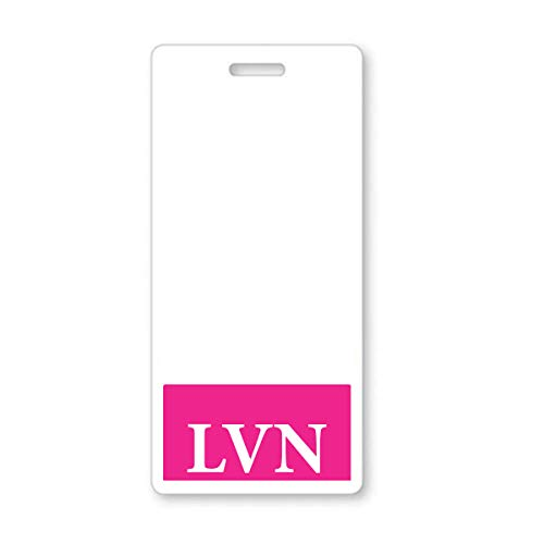 LVN Badge Buddy - Heavy Duty Vertical Badge Buddies for Licensed Vocational Nurses - Spill & Tear Proof Cards - 2 Sided USA Printed Quick Role Identifier ID Tag Backer by Specialist ID