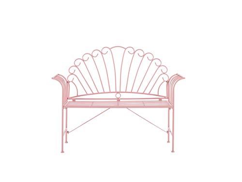 Beliani Gartenbank Metall Rosa 125 cm romantischer Stil Cavina