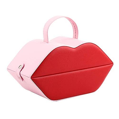 JIANGCJ Bella Jewelry Box Organizer Creativo Multiuso Joyería Caja Organizador con Espejo Doble Capa Joyas Joyas Caja de Almacenamiento de Gamuza para joyería