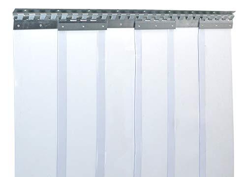 Cortina de fleje de PVC Cortina elástica industrial de 2x200 mm, transparente, completamente premontada, rieles de montaje galvanizados, resistente a la intemperie, protección contra salpicaduras