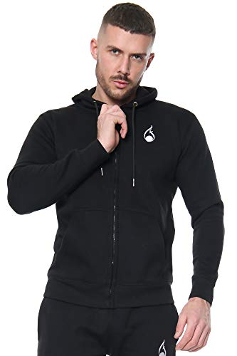 Mens Full Tracksuit Set Fleece Hoodie Joggers UK Slim Fit Sizes XS-3XL (Black, Medium)