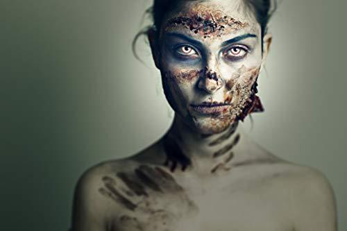 aricona Farblinsen – deckend weiß – farbige Kontaktlinsen ohne Stärke – Zombie Night Augenlinsen für Halloween, bunte 12 Monatslinsen - 6