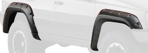 Bushwacker 10916-07 Black Jeep Cutout Style Textured Finish 4-Piece Fender Flare Set for 1993-1998 Jeep Grand Cherokee