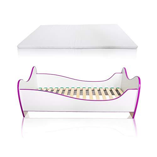 Alcube Kinderbett Swinging Pink Edge 140 x 70 cm mit Rausfallschutz, Lattenrost und Matratze MDF beschichtet