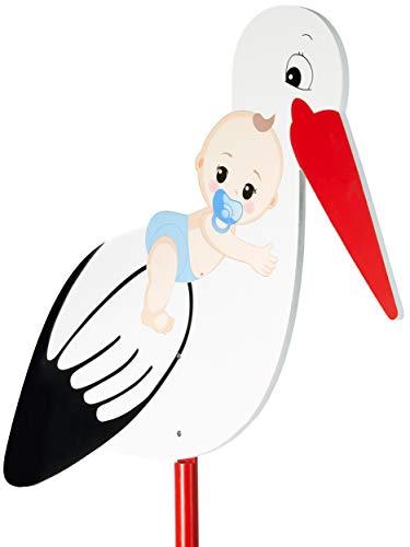 BRUBAKER Großer Storch aus Holz mit Baby Blau - Klapperstorch zum Stecken für Innen und Außen - Geburt Babystorch für Jungs - Geburtsgeschenk 100 cm groß, beidseitig bedruckt