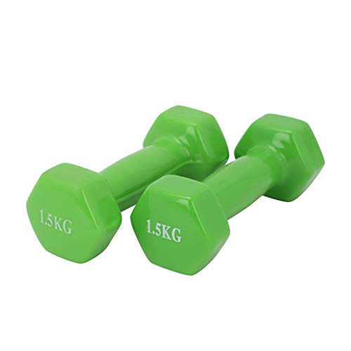 Youyijia 2 Pcs Vinyl Dumbbell Set Training Weights Strength Fitness Dumbbells Home Gym Strength Exercise for Men And Women(2 * 1.5kg)