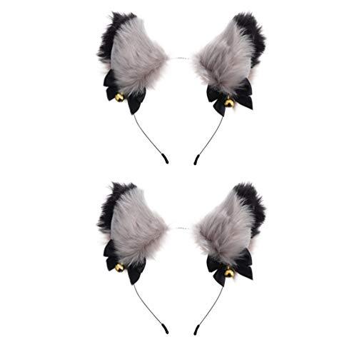 PIXNOR 2 Peças Hairband Headband Da Orelha de Gato Com Sinos de Pelúcia Raposa Peludo Gato Ouvido Capacete para O Traje Cosplay Partido Fancy Dress (Cinza Preto)