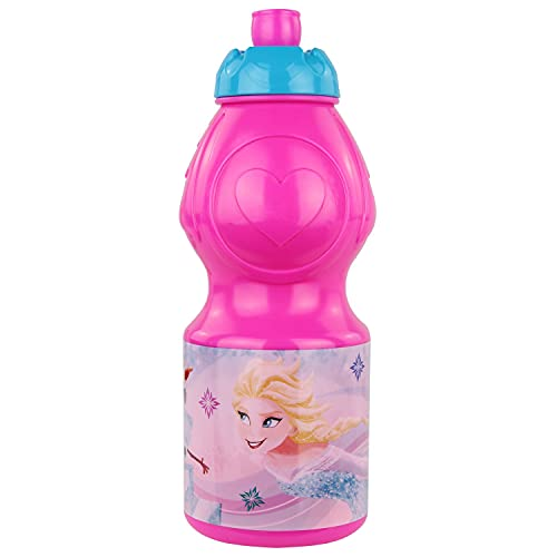 P:os 24807 – drickflaska för barn, ca 400 ml, med Disney Frozen motiv och sportlås, tillverkad av plast, bpa- och ftalatfri