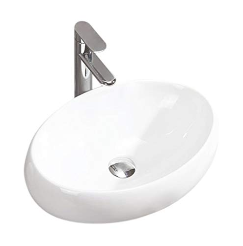 Design Keramik Oval Waschtisch Handwaschbecken Aufsatz-Waschschale 48cm x 33cm x 14,5cm FÜR BADEZIMMER GÄSTE WC Linda