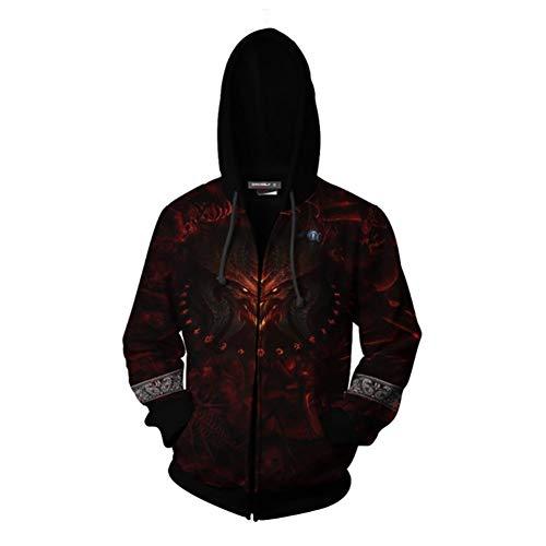 Hcxbb-16 3D imprimé Hoodie - Jeu Diablo Zipper Hoodie - Cosplay Sweat-Shirt à Capuche -Fashion Diablo Sweat-Shirt Veste for Hommes Femmes Teenages Enfants (Size : 3XL)
