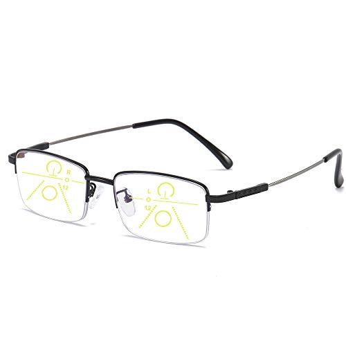 Progressive Multifokal-Lesebrille für Frauen Männer Titanlegierung Federscharnie Multifokus-Lesegerät Fokus Intelligenter Zoom Nah und Fern Blaulichtfilter Computer Brille(Schwarz,+1.5)