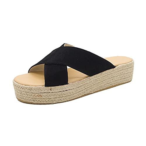 DFGH Sandales d'été pour femme - Semelle en liège - Décontractées - Avec soutien de la voûte plantaire confortable, Noir , 36.5 EU