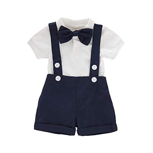 Baby Jungen Gentleman Anzüge, Kinder Kurzarm Bowtie Shirt Strampler + Hosenträger Shorts Overalls Festliche Taufe Hochzeit Gentleman Shorts Set 0-24M, A-Dark Blue, 6-12 Monate(Tag 80)