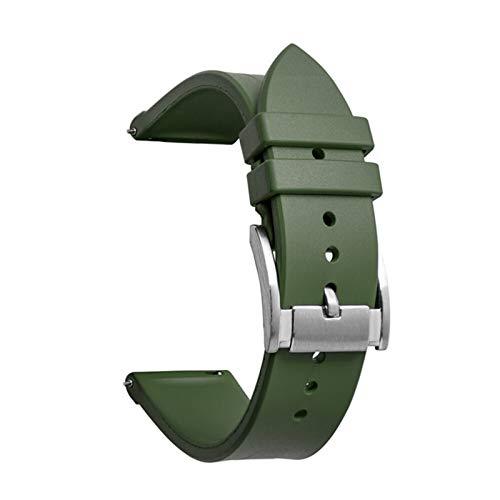 ZXF Correa de Reloj de Goma de 20 mm 22mm Correa Deportiva Pulsera de la Banda de muñeca del Deporte Correas Reloj Silicona Hombre y Mujer (Band Color : Army Green, Band Width : 20mm)