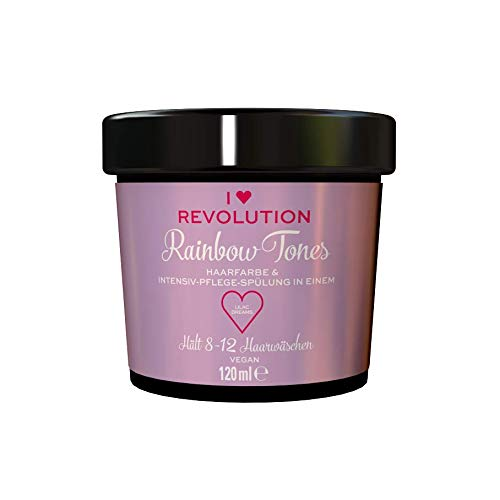 I Heart Revolution Rainbow Tones Lilac Dreams - semi permanente Haarfarbe und Pflegespülung in einem, auswaschbar mit 8-12 Haarwäschen - vegan, mehrfach verwendbar, 120ml