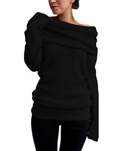 Style Dome Pullover Damen Revers Schulterfrei Tunika Langarmshirt Stricken Bluse Langarm Solid Schwarz-745936 M